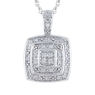 Bridal Symphony Sterling Silver 1/10ct TDW Diamond Cushion Halo Pendant Necklace