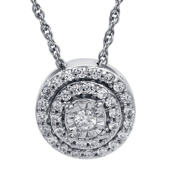 Bridal Symphony Sterling Silver 1/4ct TDW Round-cut Diamond Double Halo Pendant Necklace