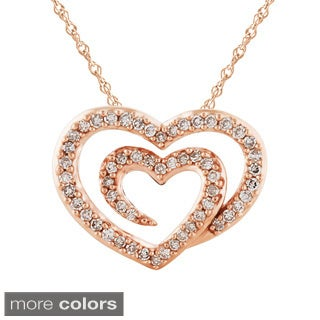 Bridal Symphony 14kRose Gold 1/4ct TDW Diamond Heart Pendant Necklace (I-J, I2-I3)