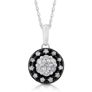 Bridal Symphony 10K Two-tone White Gold 1/3ct TDW Diamond Halo Pendant Necklace (I-J, I3)