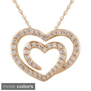 Bridal Symphony 14kGold 1/2ct TDW White Double Diamond Heart Pendant Necklace (I-J, I2-I3)
