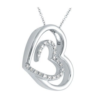 Bridal Symphony Sterling Silver 1/10ct TDW Diamond Double Heart Pendant (I-J, I2-I3)