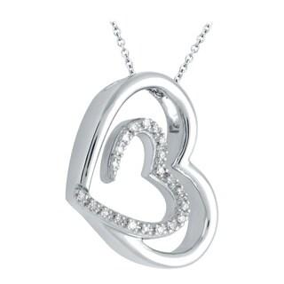 Bridal Symphony Sterling Silver 1/10ct TDW Diamond Double Heart Pendant