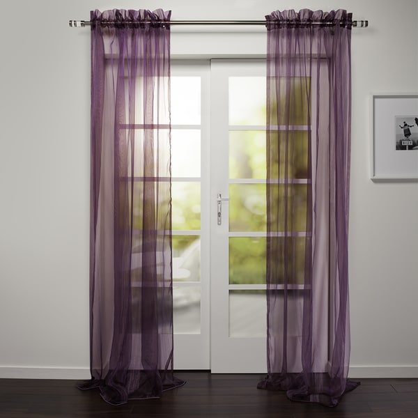 Kara Collection Sheer Rod Pocket 95 Inch Curtain Panel Free Shipping On Orders Over 45