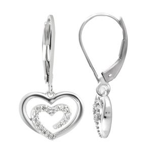 Bridal Symphony 14kWhite Gold 1/10ct TDW Diamond Heart Dangle Earrings