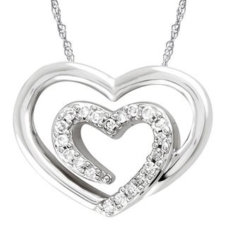 Bridal Symphony 14kWhite Gold 1/10ct TDW Diamond Heart Pendant