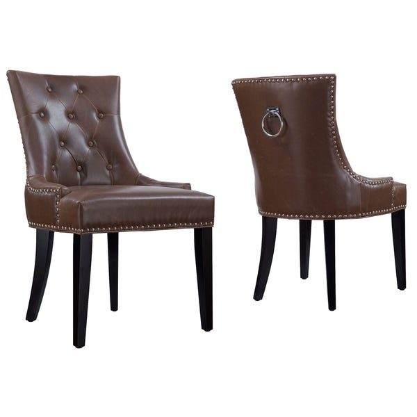 Shop Dallas Antique Brown Leather Dining Chair