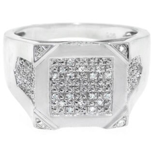 Sterling Silver Men's 1/8ct TDW Square-cut Diamond Ring (G-H, I2-I3)