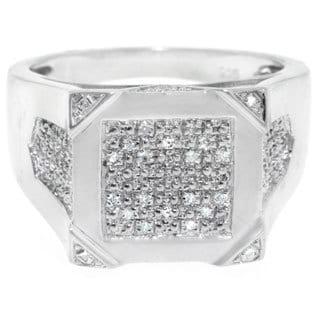 Sterling Silver Men's 1/8ct TDW Square-cut Diamond Ring (G-H, I2-I3)