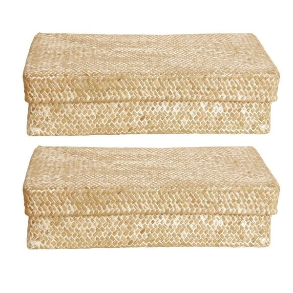 Wald Imports Whitewash Seagrass-reed Basket With Lid (Set