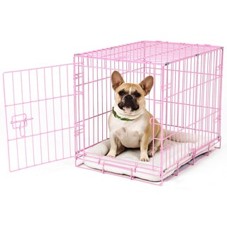 Carlson Pink Compact and Secure Metal Dog Crate