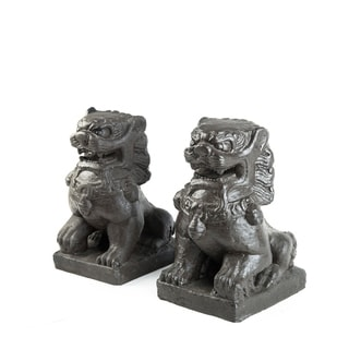 Handmade Set of 2 Volcanic Ash Guardian Fu Dogs Sculptures (Indonesia)