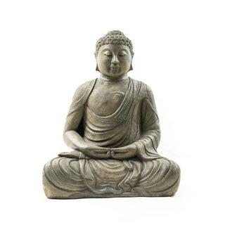 Handmade Volcanic Ash Meditating Buddha Statue (Indonesia)