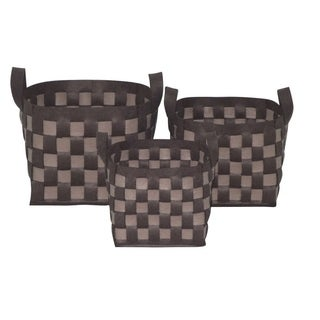 Wald Imports Chocolate and Tan Woven Wool Felt Containers (Set of 3)