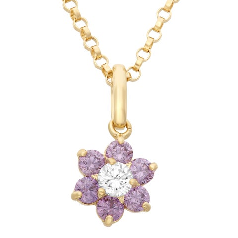 Junior Jewels 14k Gold Cubic Zirconia Flower Pendant Necklace