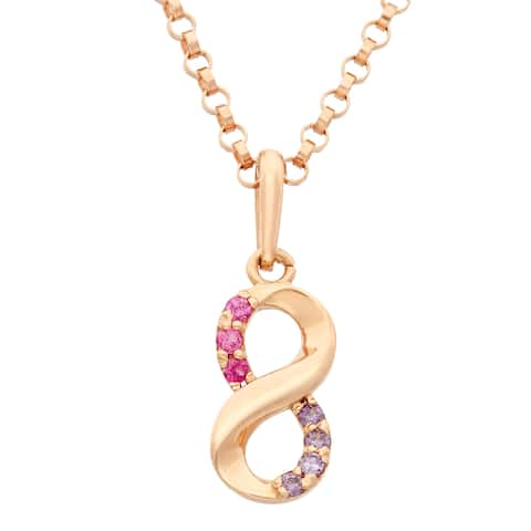 Junior Jewels 14k Rose Gold Children's Cubic Zirconia Infinity Pendant