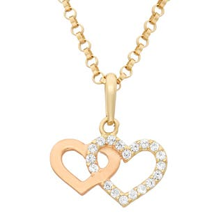 Junior Jewels 14k Two-tone Gold Children's Cubic Zirconia Double Heart Pendant Necklace|https://ak1.ostkcdn.com/images/products/9470278/P16652947.jpg?impolicy=medium