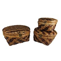 Wald Imports Woven Wood Strip Baskets (Set of 3)