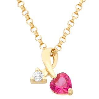 Junior Jewels 14k Yellow Gold Children's Cubic Zirconia Pendant Necklace
