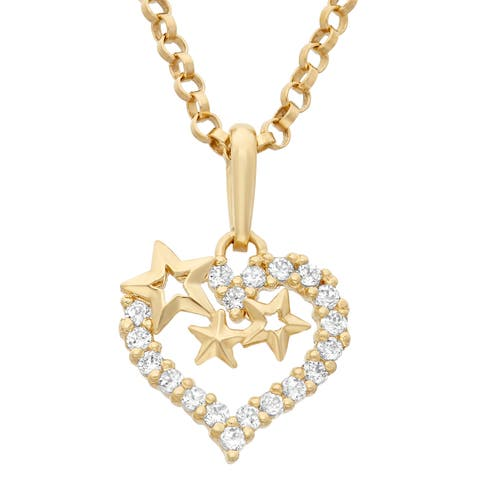 Junior Jewels 14k Yellow Gold Children's Cubic Zirconia Heart/ Stars Pendant Necklace