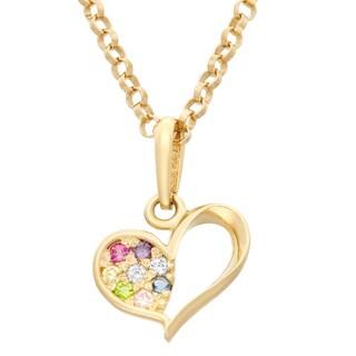 Junior Jewels 14k Yellow Gold Children's Multi-color Cubic Zirconia Heart Pendant Necklace