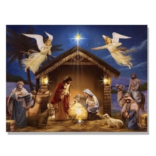 Holiday Nativity Scene LED Light Canvas Art