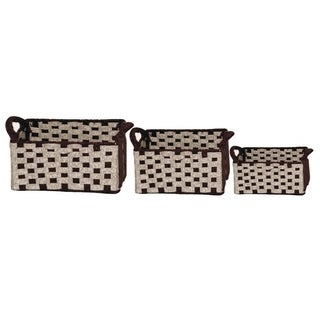 Wald Imports Two-toned Wool Felt Weave Baskets (Set of 3)