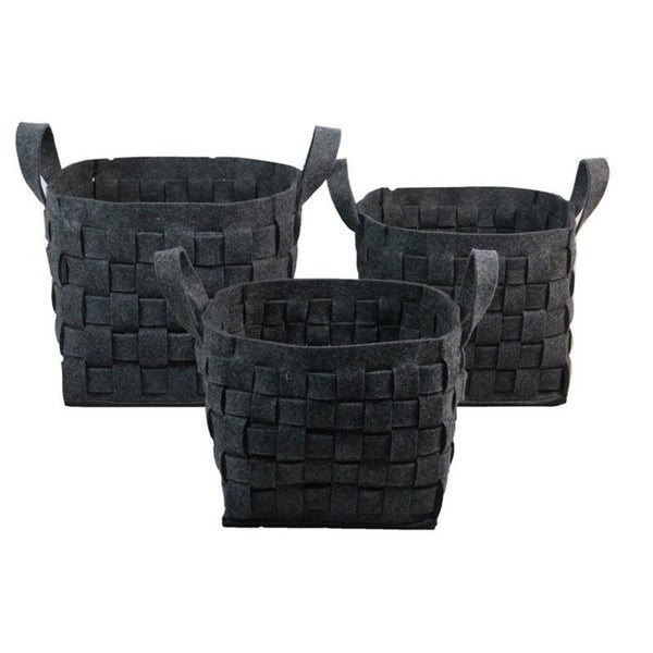 Wald Imports Charcoal Wool Felt Storage Containers (Set of 3)