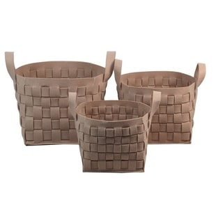 Wald Imports Ecru Woven Thick Wool Felt Containers (Set of 3)