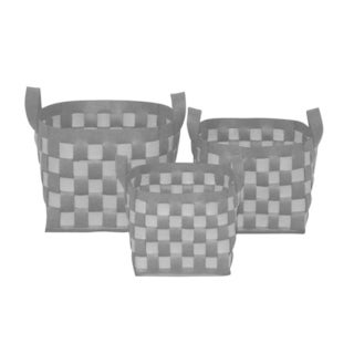 Wald Imports Two Toned Grey And Light Thick Woven Wool Felt Storage Containers