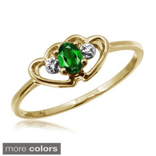 1/5 ct TGW Chrome Diopside Gemstone and White Diamond Accent Ring