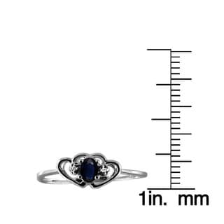 1/4ct TGW Sapphire Gemstone and Accent White Diamond Ring