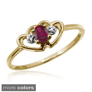 1/5ct TGW Ruby Gemstone and Accent White Diamond Ring
