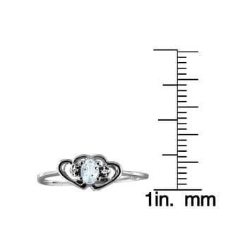 1/6ct TGW Aquamarine Gemstone and Accent White Diamond Ring