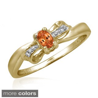 Mandarin Garnet Gemstone and Accent White Diamond Bow Ring