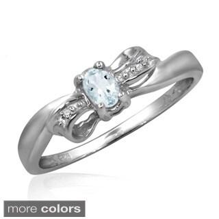Aquamarine Gemstone and Accent White Diamond Bow Ring - Blue