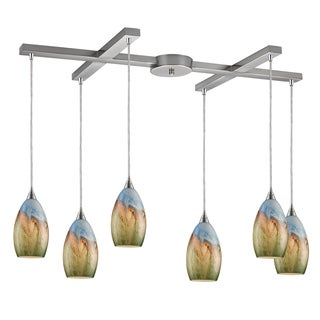 Elk Lighting Geologic 6-light Satin Nickel Pendant