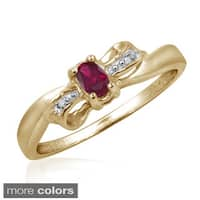 Ruby Gemstone and Accent White Diamond Bow Ring