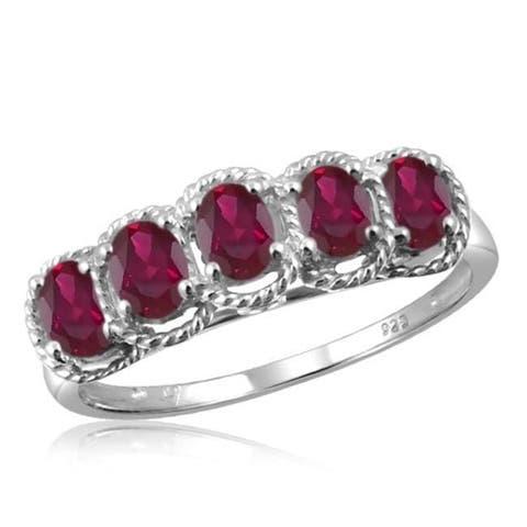 Jewelonfire Sterling Silver Genuine Ruby Gemstone Ring
