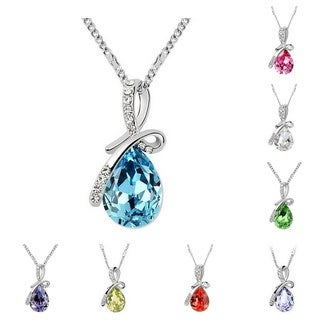 Princess Ice Platinum Plated Crystal Teardrop Pendant