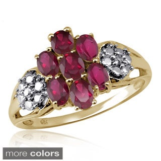 Oval-cut Ruby Gemstone and Accent White Diamond Ring
