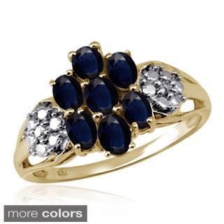 Oval-cut Sapphire Gemstone and Accent White Diamond Ring