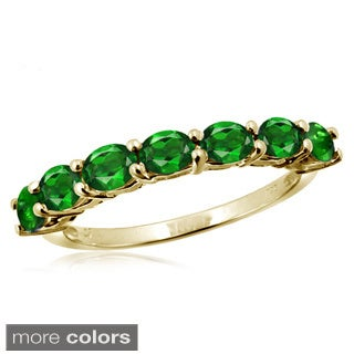 Oval-cut Chrome Diopside Gemstone Ring
