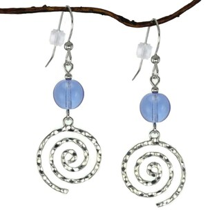 Jewelry by Dawn Sapphire Blue Glass Hammered Sterling Silver Swirl Dangle Earrings