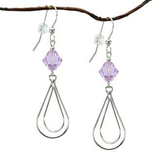 Jewelry by Dawn Sterling Silver Violet Crystal Double Teardrop Earrings