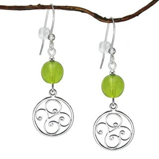 Jewelry by Dawn Sterling Silver Lime Green Round Filigree Dangle Earrings