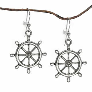 Jewelry by Dawn Nautical Antique Pewter Ship Wheel Dangle Earrings