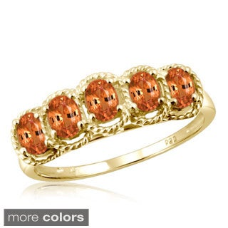 Oval-cut Mandarin Garnet Gemstone Braided Ring