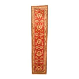 Herat Oriental Afghan Hand-knotted Tribal Kazak Red/ Ivory Wool Rug (2'8 x 11'2)