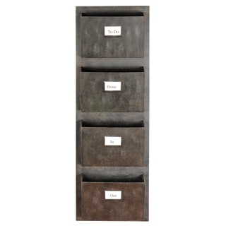 Linon Industrial Metal Four Slot Mailbox